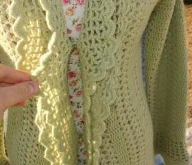 Ready to ship /GORGEOUS Handmade Hand crochet Victorian Style Layered Green Cardigan/ Size S/M and Large