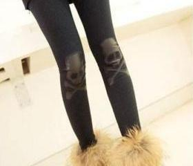 Ladies Black Elastic Cotton Leggings One Size VF0007b