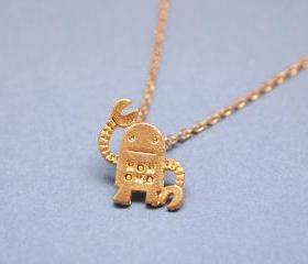 unique robot pendant necklace in gold