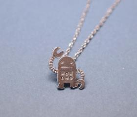 unique robot pendant necklace in silver