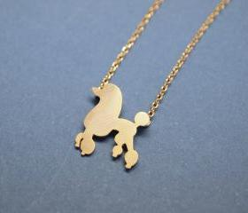 Lovely Poodle Dog pendant Necklace in GOLD