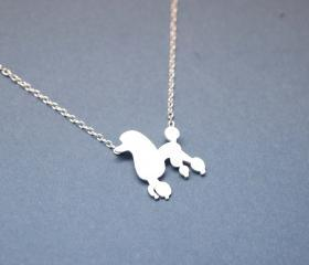 Lovely Poodle Dog pendant Necklace in SILVER