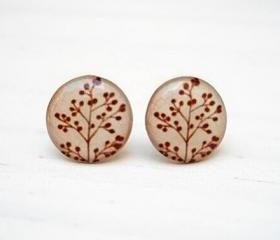 Oatmeal Branch earrings, Brown Beige earring studs, Gift Bridesmaids