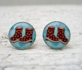 Brown Boots Earrings studs posts,Blue, Winter Trend