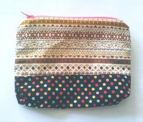 Tribal and Polka Dots print zipper pouch (Medium)
