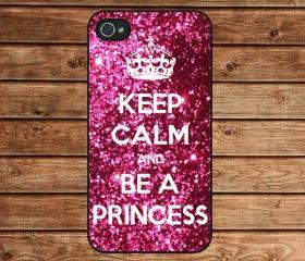 iphone 4 case,iphone 4s case,apple iphone case--Sparkle Painting,Keep Calm and be a princess,in plastic or silicone case