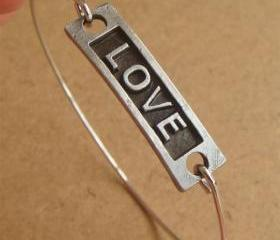 Love Bangle Bracelet, Simple Everyday Jewelry, Elegant gift, Bridesmaid Gift, Bridal Wedding Jewelry