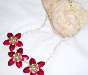 Scale Maille Flower Necklace Handmade Gemstone Jewelry