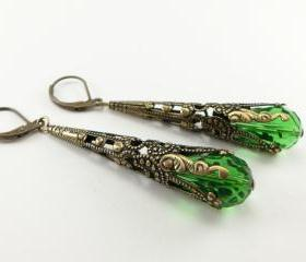 Green Earrings Victorian Style Steampunk Earrings Antiqued Brass