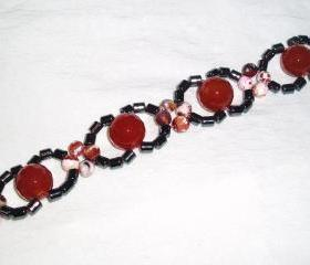 Agate and Carnelian Haematite Bracelet Handmade Jewelry gift ideas