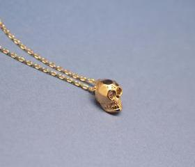 Cute Tiny Baby Skull Necklace in gold