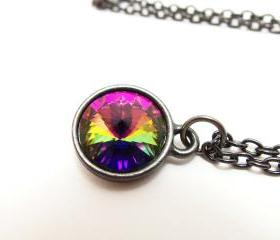 Rainbow Necklace Dark Rainbow Jewelry Crystal Dark Silver Gunmetal Rivoli