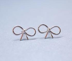Little Bow Stud Earrings in SILVER