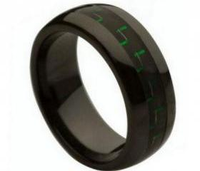 Ceramic Ring 'FREE ENGRAVING' Wedding Green & Black carbon fiber Band MMCR236 8mm Black Ceramic engagement ring