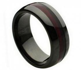 Ceramic Ring 'FREE ENGRAVING' Wedding Burgundy Wood Inlay Band MMCR240 8mm Black Ceramic engagement ring