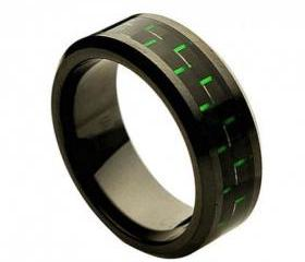 Ceramic Ring 'FREE ENGRAVING' Wedding Green and black carbon fiber Inlay Band MMCR248 8mm Black Ceramic engagement ring