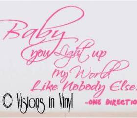 One Direction Baby you light up my World Decal