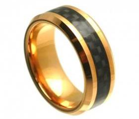 Tungsten wedding band ' FREE ENGRAVING ', MMTR328 Rose Gold PlatedTungsten Carbide engagement rin