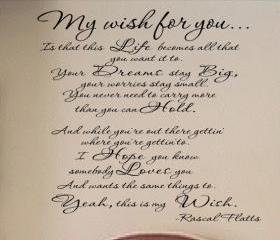 My Wish Rascal Flatts Lyrics Decal