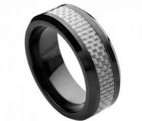 Ceramic Ring 'FREE ENGRAVING' Wedding White Carbon fiber Inlay Band MMCR243 8mm Black Ceramic engagement ring