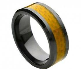 Ceramic Ring 'FREE ENGRAVING' Wedding Yellow Carbon fiber Inlay Band MMCR242 8mm Black Ceramic engagement ring