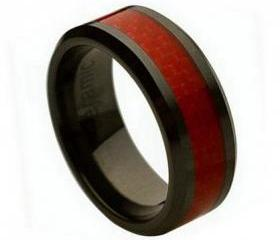 Ceramic Ring 'FREE ENGRAVING' Wedding Red Carbon fiber Inlay Band MMCR241 8mm Black Ceramic engagement ring