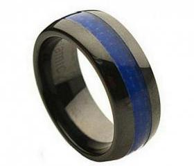 Ceramic Ring 'FREE ENGRAVING' Wedding Blue carbon fiber Band MMCR239 8mm Black Ceramic engagement ring