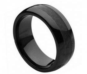Ceramic Ring 'FREE ENGRAVING' Wedding Black carbon fiber Band MMCR235 8mm Black Ceramic engagement ring