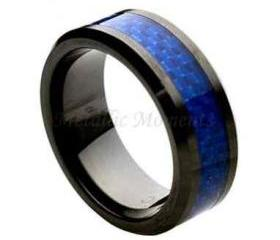 Ceramic Ring 'FREE ENGRAVING' Wedding Blue carbon fiber Band MMCR244 8mm Black Ceramic engagement ring