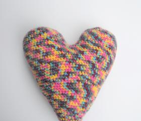 Large Crochet Heart Accent Pillow Cushion plush heart, ready to ship.