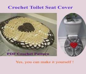 Crochet Pattern - Valentine Toilet Seat Cover for Both Standard and Elongated Toilet Seats (6VC2013)