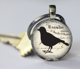 Unisex gift vintage antique ephemera silhouette black bird necklace or keychain