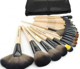 Discount High Quality 24 pcs/set Makeup Brushes Cosmetic set Kit Packed in Black Leather Case - Wood