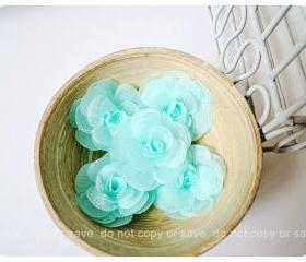 6 Aqua Mist Satin Organza flowers 