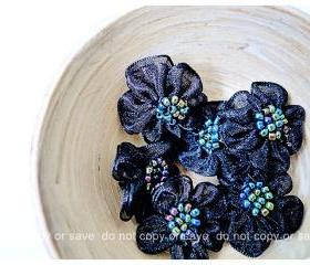 6 Black Satin organza flower with beads in the centered / pack