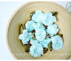 10 Ribbon ruffle flower with leave flower / pack