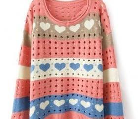 Pink Loose Women Knitting Sweater One Size VF0011p