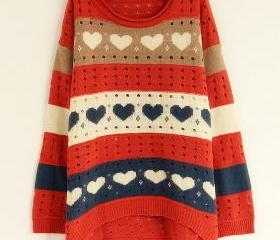 Orange Loose Women Knitting Sweater One Size VF0011o