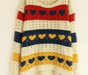 White Loose Women Knitting Sweater One Size VF0011w