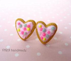 Kawaii heart shape frosted cookie ear studs