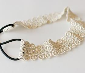 metallic vintage gold circle lace elastic headband