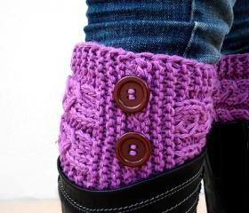 Fuchsia Boot Toppers,Fuchsia Boot Cuffs,with Brown Button,Knit Boot Toppers, Knit Boot Cuffs, Accessories