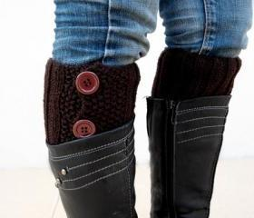 Brown Boot Toppers, Brown Boot Cuffs,Clasp Brown Button, Knit Boot Toppers, Knit Boot Cuffs,Accessories