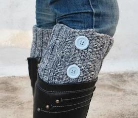 Grey/Gray Boot Toppers, Grey/Gray Boot Cuffs,Clasp LightCyan Button, Knit Boot Toppers, Knit Boot Cufft,Accessories