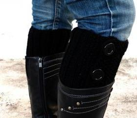 Black Boot Toppers, Black Boot Cuffs,Clasp Black Button,Knit Boot Toppers, Knit Boot Toppers, Accessories