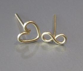 Tiny Sterling Silver Infinity Earrings, Infinity Studs, Infinity Post, Stud Earrings, Heart Earrings, Gold Infinity Earrings