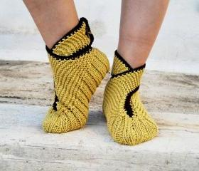 Knit Slippers, Mustard Yellow with Brown finish Slippers,Slippers with Brown Buttons, House Slippers,Unisex
