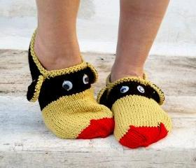 Knit Funny Animals Slippers, Mustard Yellow Red Brown Slippers, House Slippers,Unisex