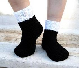 White and Black Slippers,Knit Slippers, House Slippers,Unisex, Socks