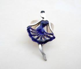 Ballerina Ring in Purple Dress, Jewelry for her, Adjustable Ring, Under 20